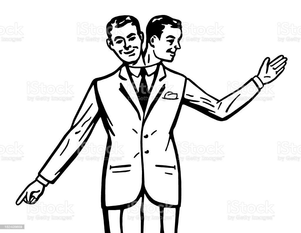 Two Headed Man vector art illustration