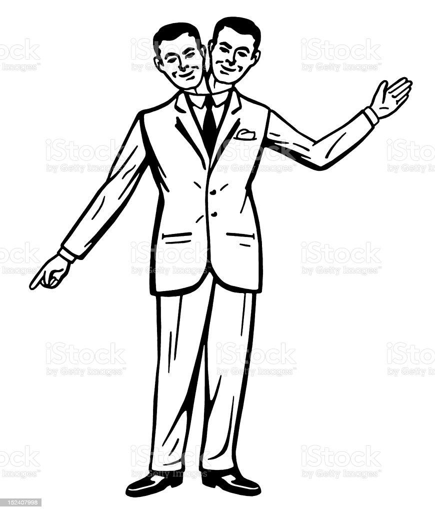 Two Headed Smiling Men vector art illustration