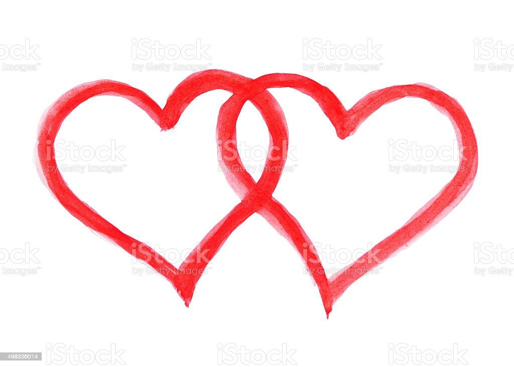 Two hearts vector art illustration