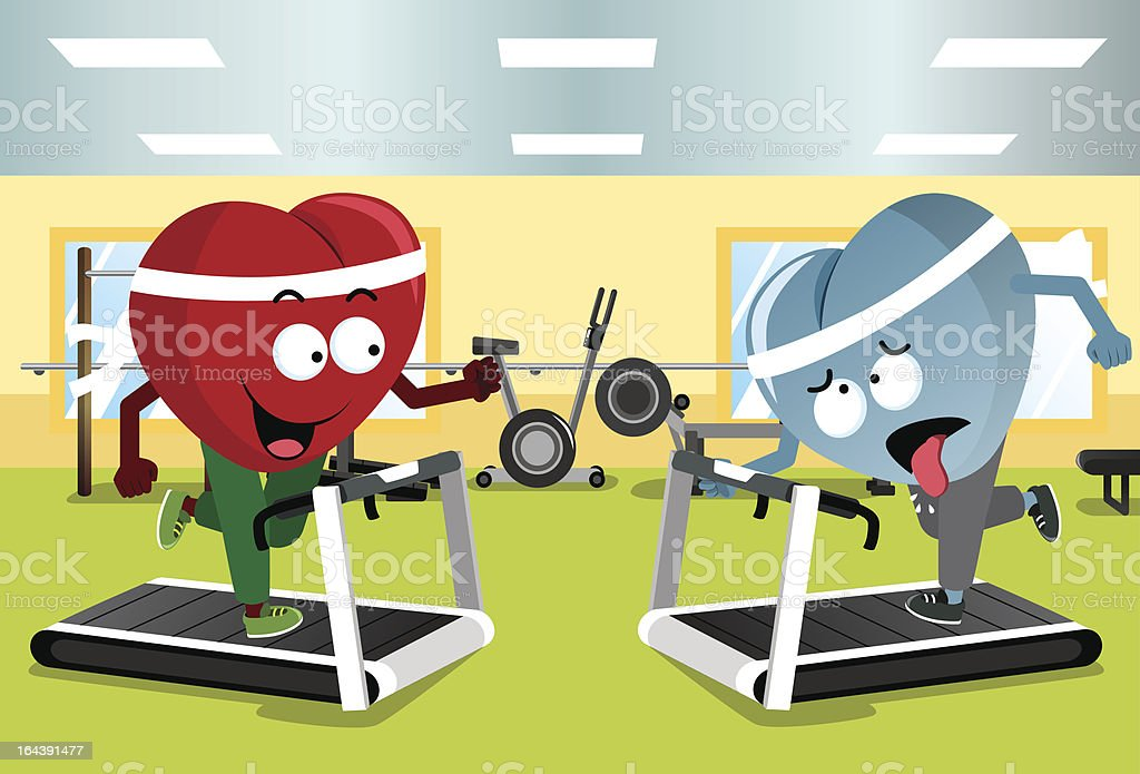 Two Hearts Running on Treadmills royalty-free stock vector art