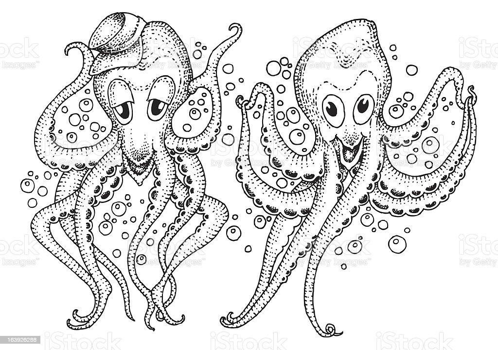 Two heppy octopus vector art illustration