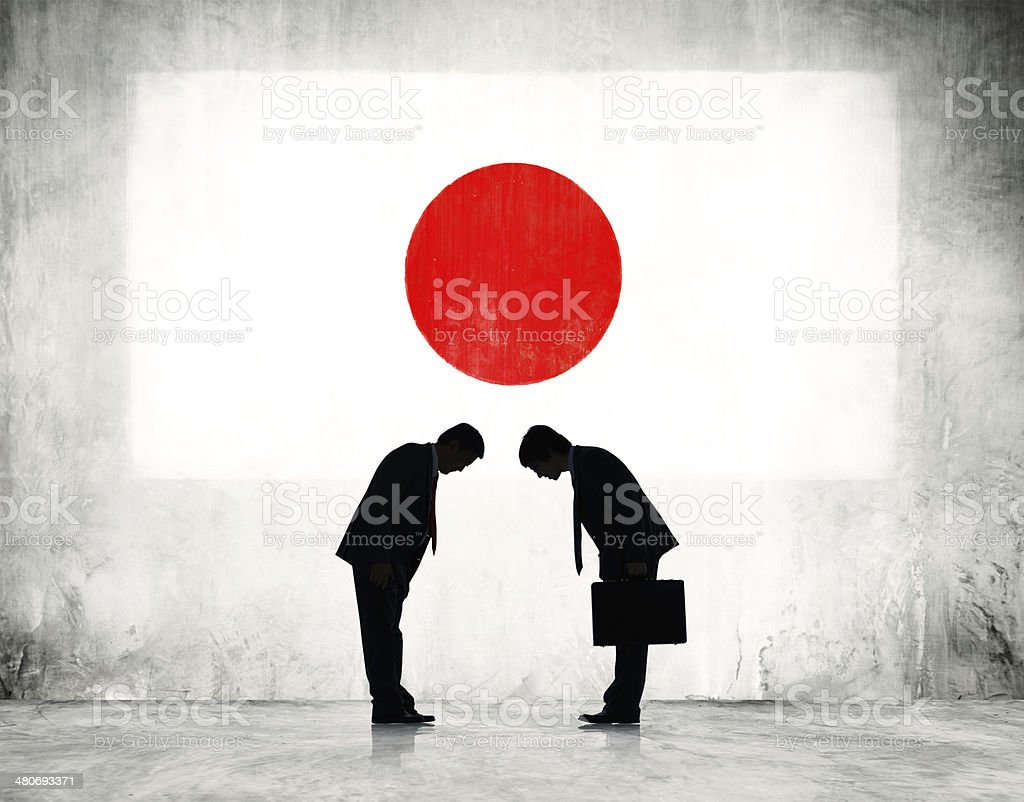 Two Japanese Business Person Greeting with Japanese Flag vector art illustration