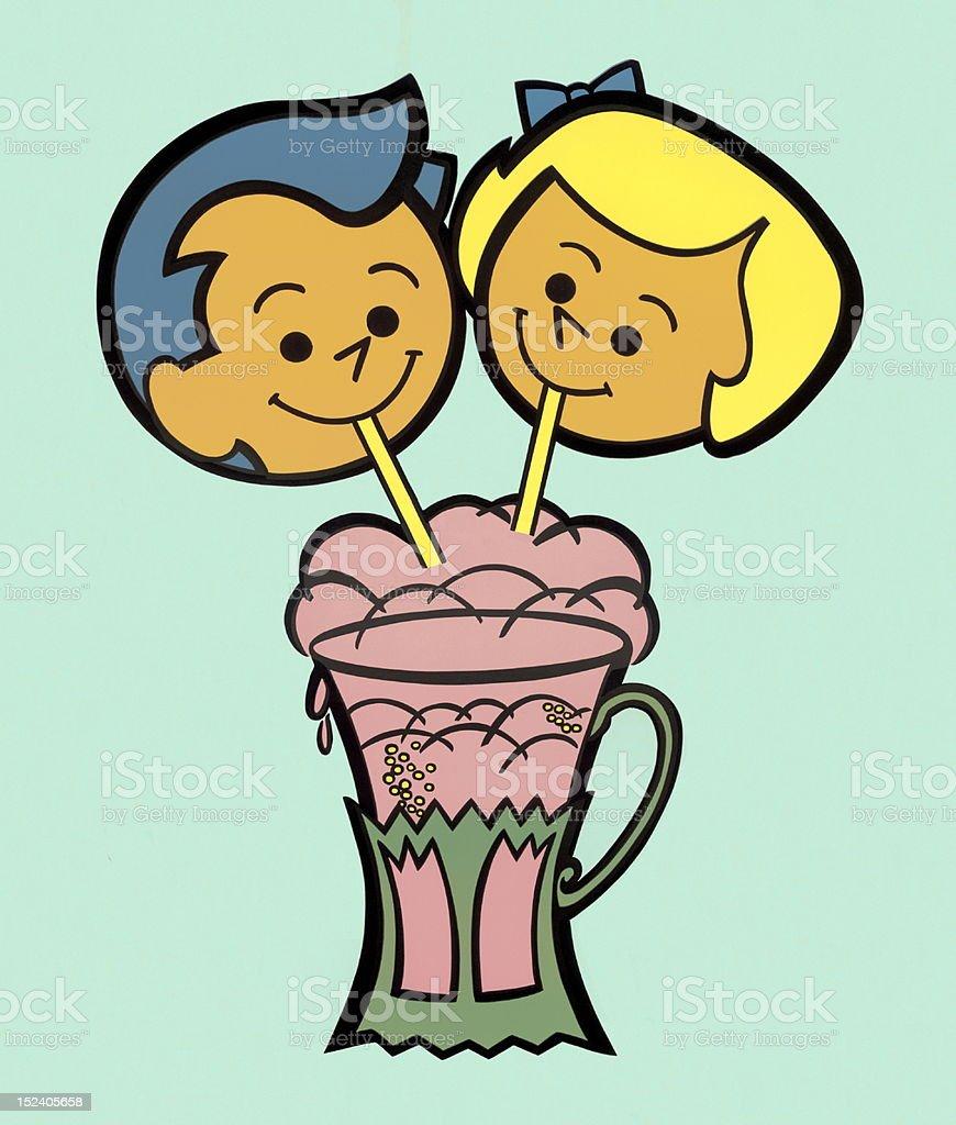 Two Kids Sharing Milkshake vector art illustration