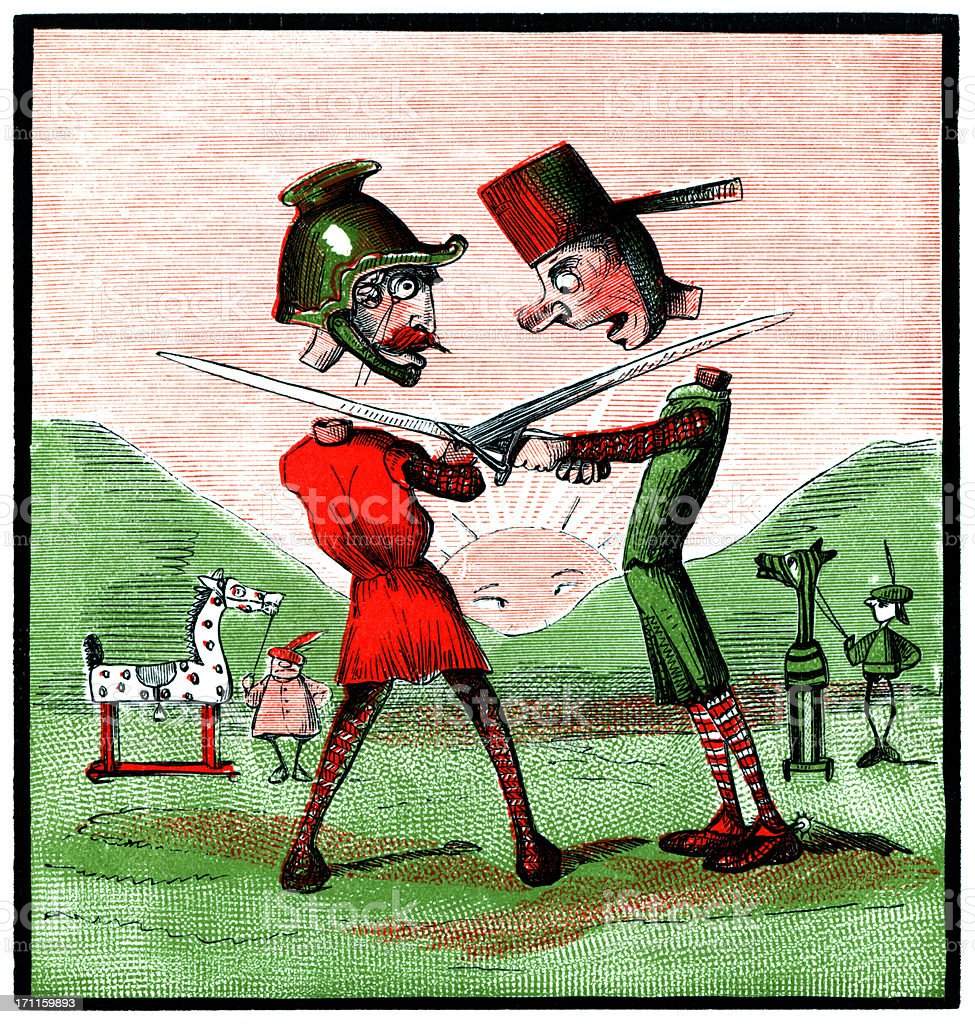 Two knights chopping off each others heads (Victorian cartoon) royalty-free stock vector art