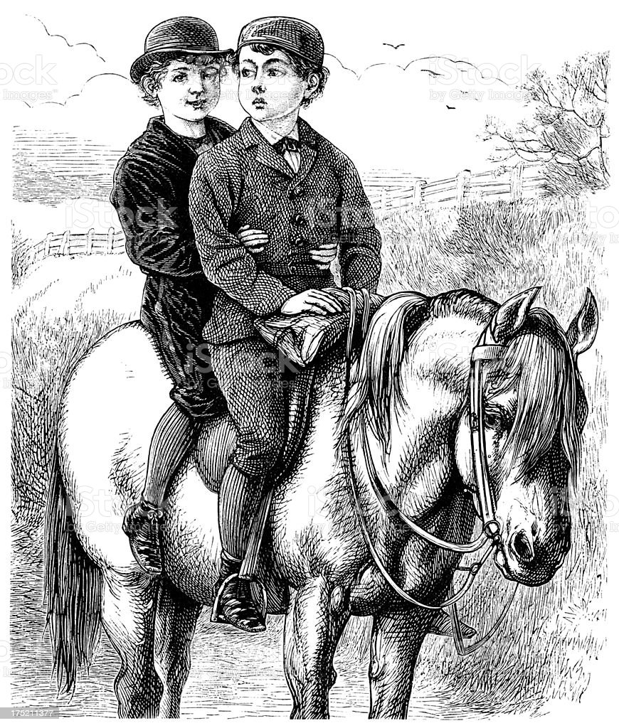 Two little Victorian boys on a pony vector art illustration