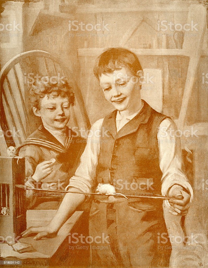Two little Victorian boys with pet white mice vector art illustration
