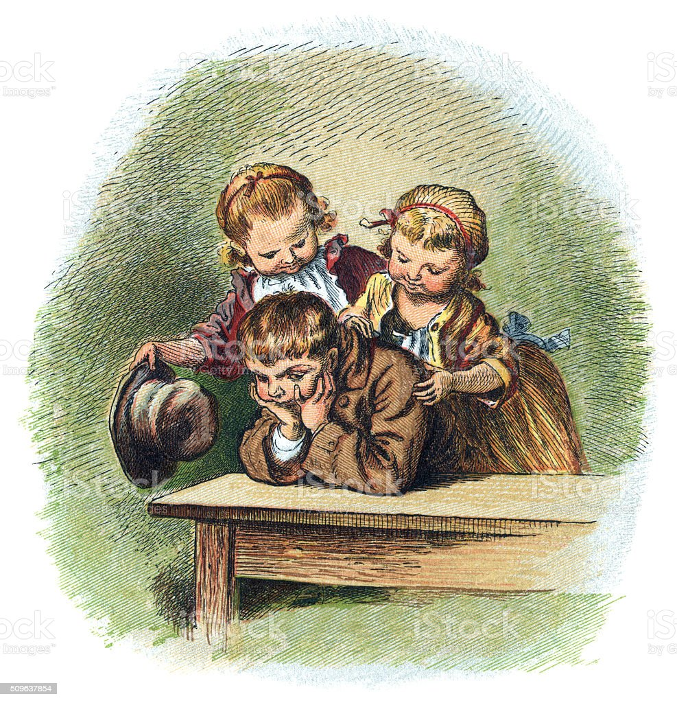 Two little Victorian girls and their sulky brother vector art illustration