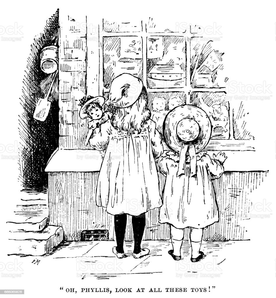 Two little Victorian girls looking into a toy-shop window vector art illustration
