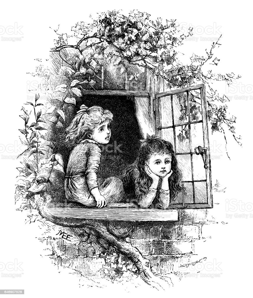 Two little Victorian girls looking out of a window vector art illustration