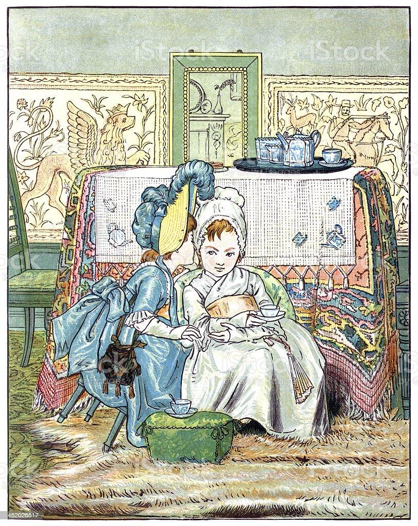Two little Victorian girls taking tea vector art illustration