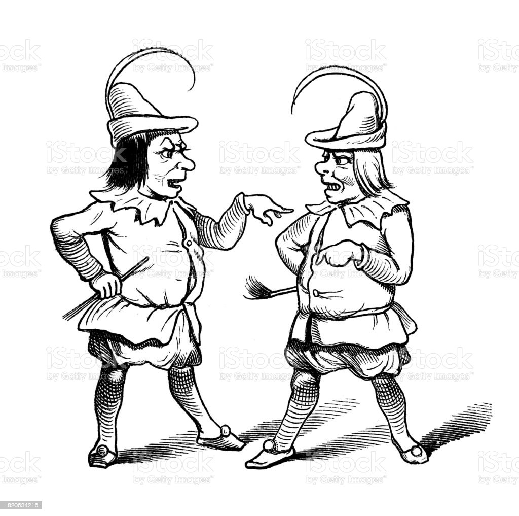 Two medieval men arguing with each other -1867 vector art illustration
