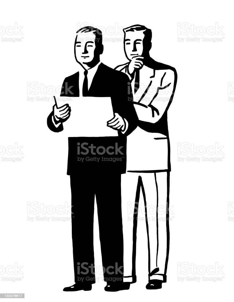Two Men and Sign royalty-free stock vector art