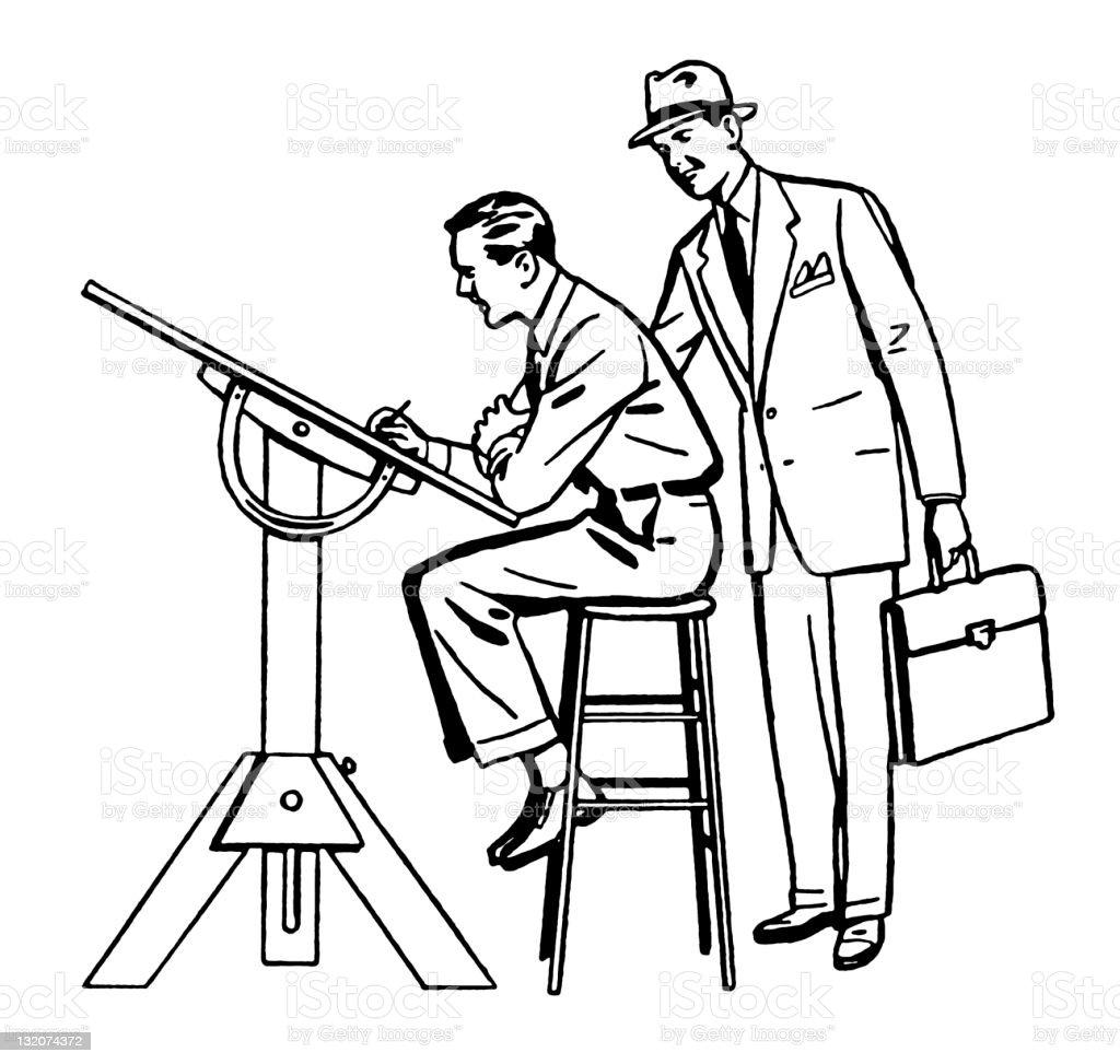 Two Men at Drafting Table vector art illustration