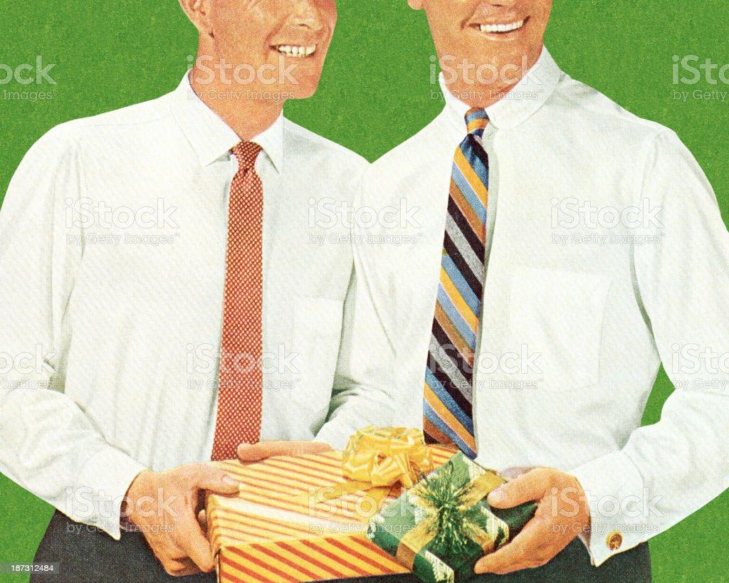 Two Men Holding Gifts vector art illustration