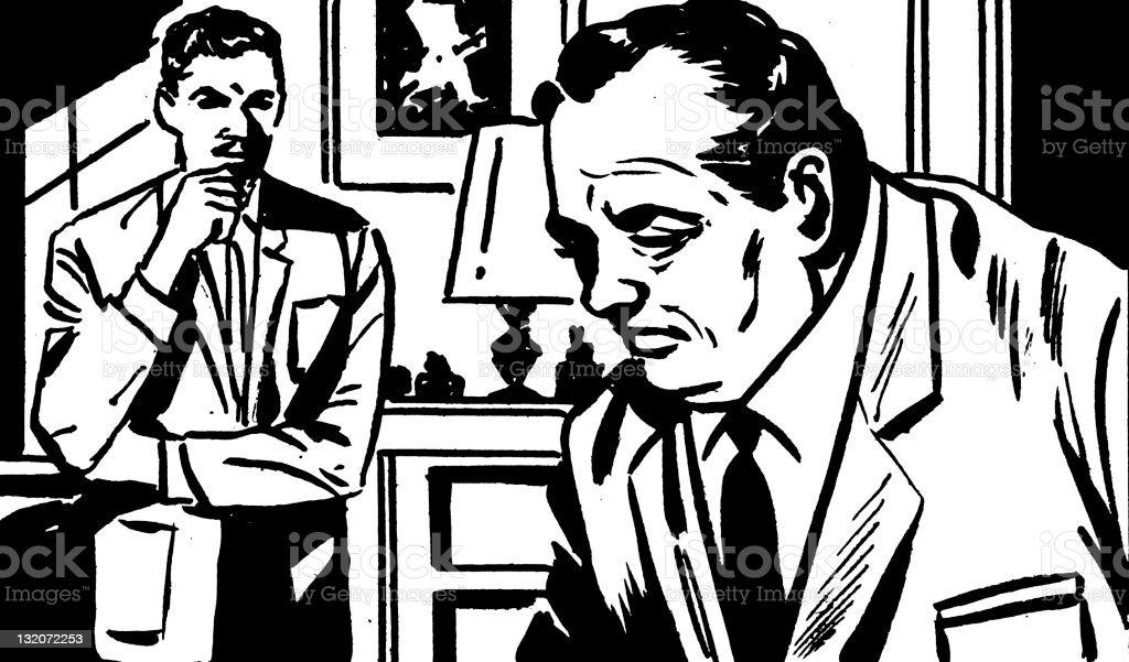 Two Men vector art illustration