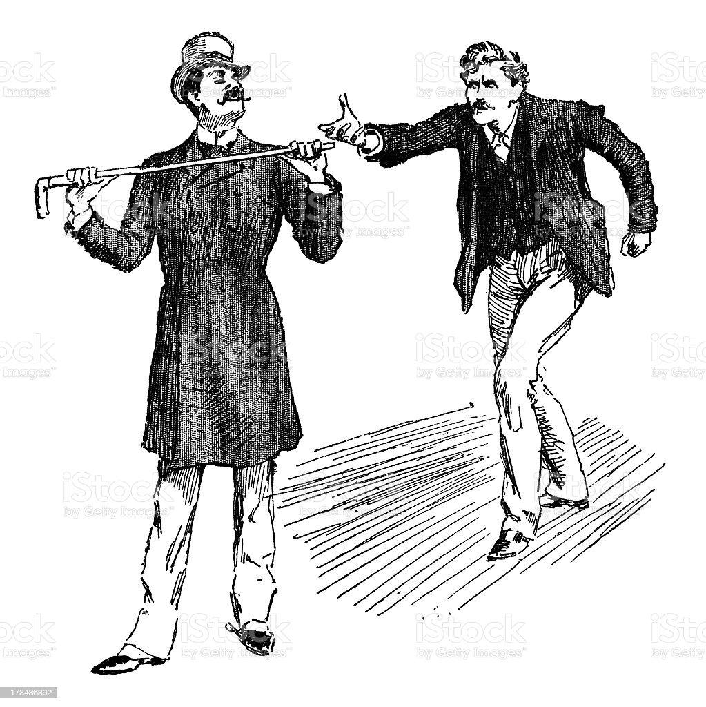 Two men in a disagreement vector art illustration