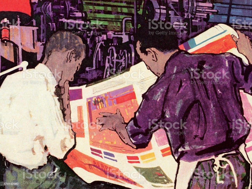 Two Men Looking at Newpaper vector art illustration