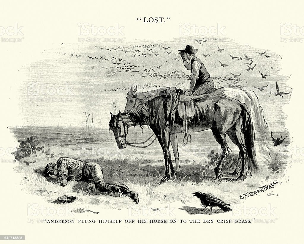 Two men lost in the Australian bush, 19th Century vector art illustration