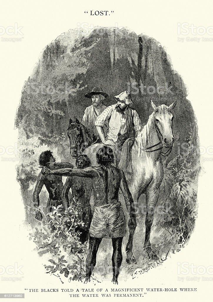 Two men lost in the Australian bush, 19th Century vector art illustration