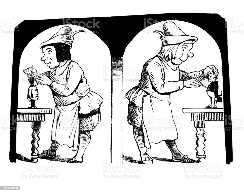 Two men, medieval craftsmen are working on their puppets - 1867 vector art illustration