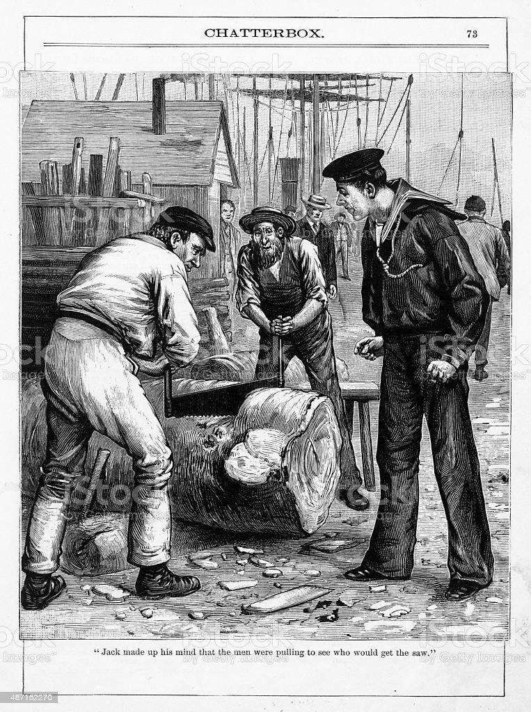 Two Men Sawing a Log Victorian Engraving vector art illustration