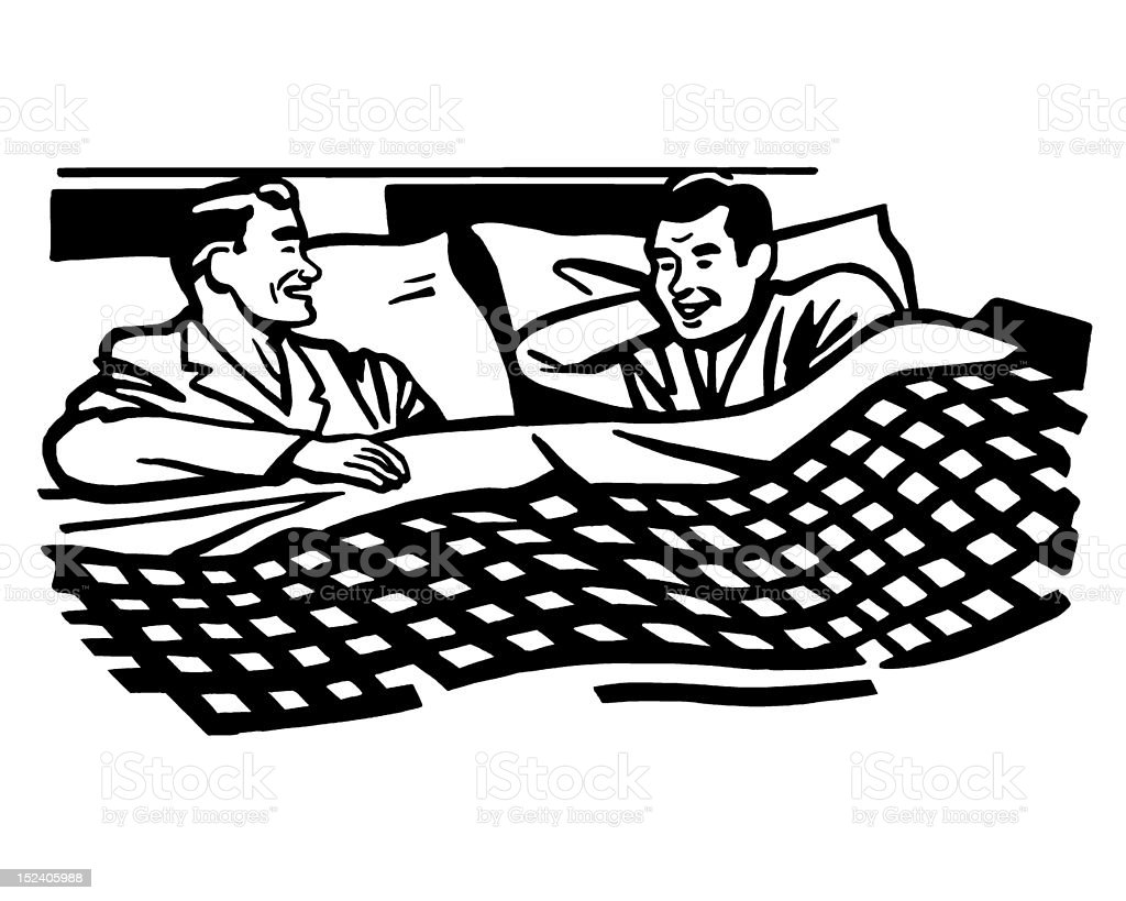 Two Men Talking in Bed royalty-free stock vector art