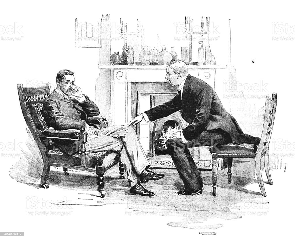 Two men talking next to a fire - Victorian illustration royalty-free stock vector art