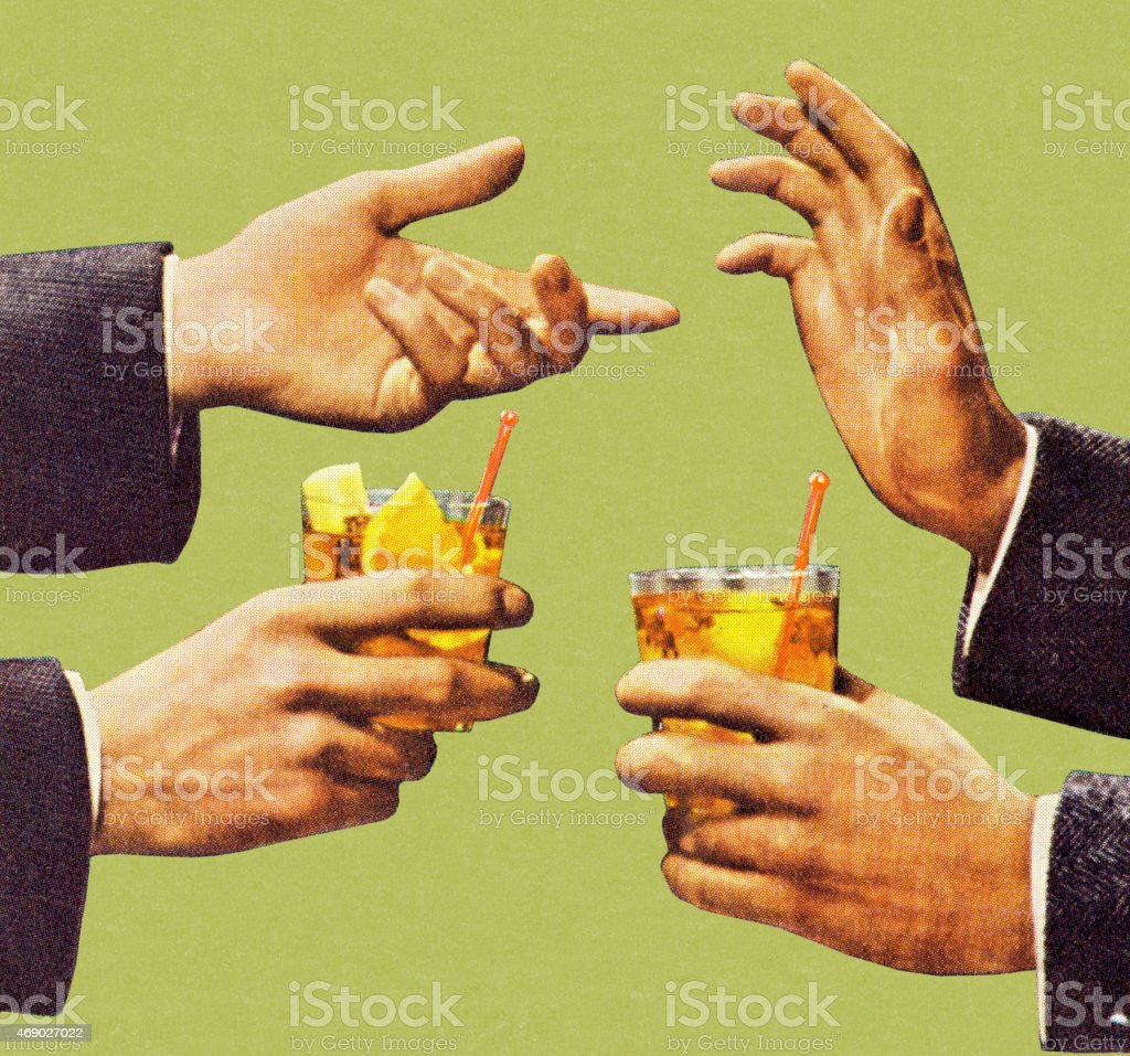 Two Men Talking With Hands and Holding Drink vector art illustration