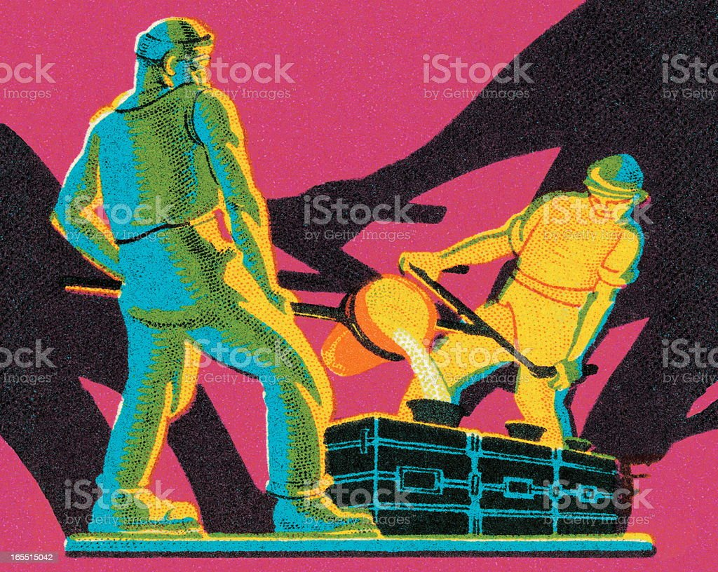 Two Men Working in a Steel Mill vector art illustration
