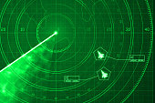 Two military aircrafts on green digital radar with coordinates