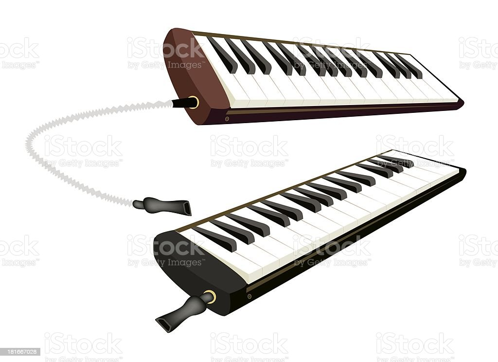 Two Musical Melodica Isolated on White Background royalty-free stock vector art