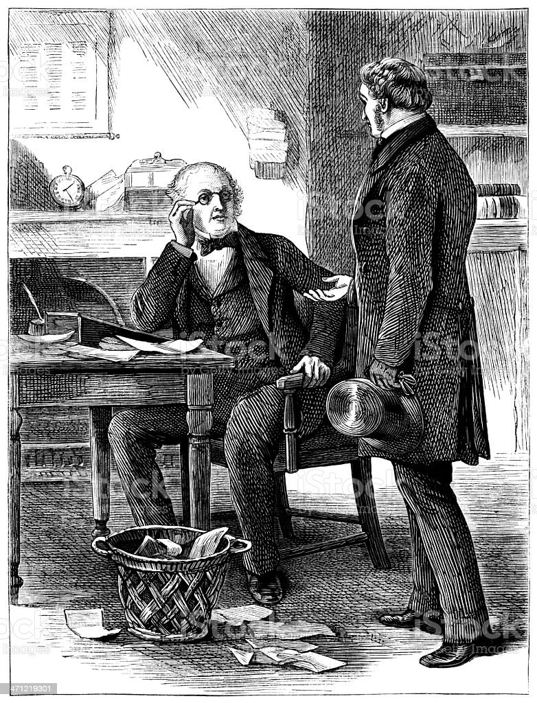 Two nineteenth century businessmen - Victorian illustration royalty-free stock vector art