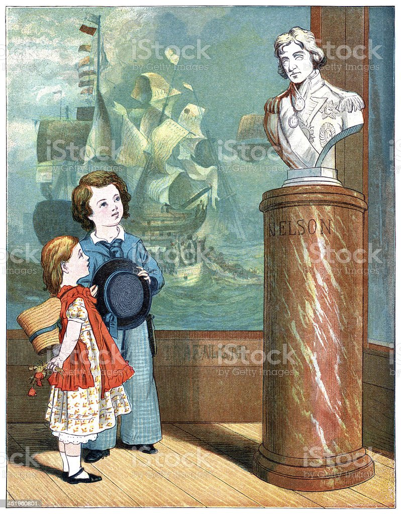 Two Victorian children admiring a bust of Lord Nelson vector art illustration