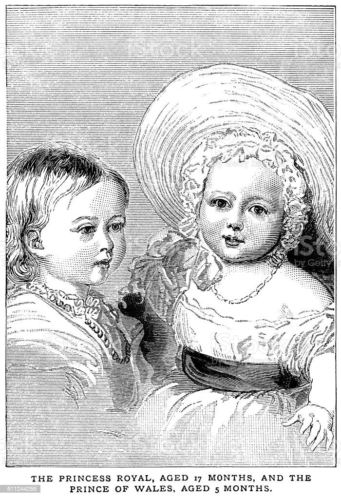Two of Queen Victoria's children vector art illustration