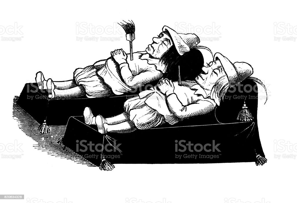 Two of the medieval clowns lies on the death bed arrow pierced -1867 vector art illustration