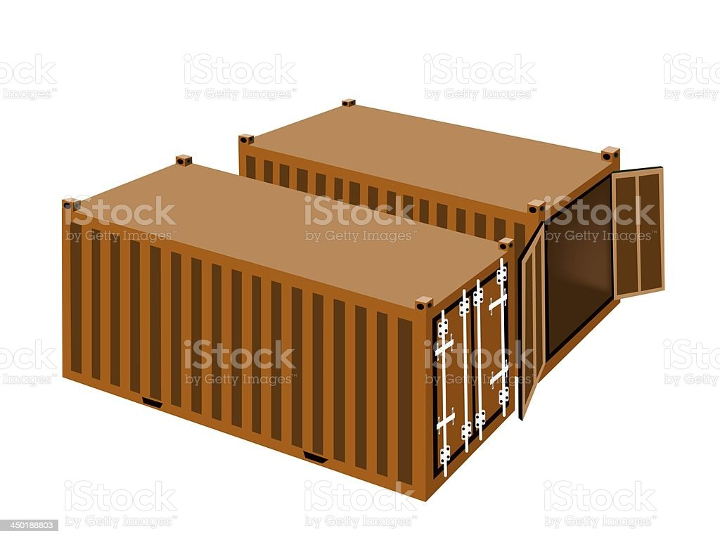 Two Orange Cargo Containers on White Background royalty-free stock vector art