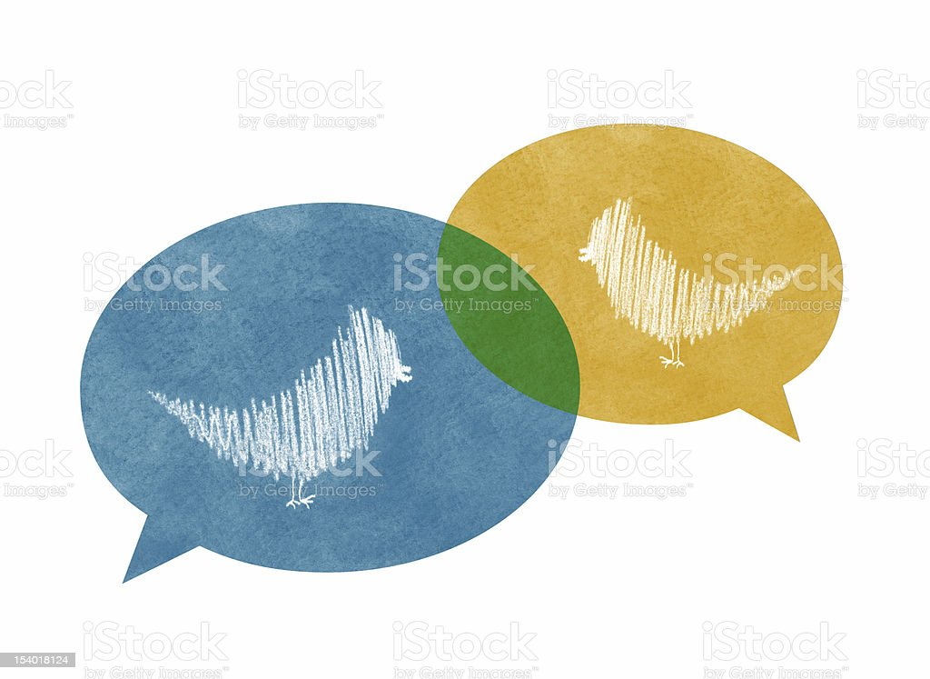 Two Overlapping Speech Bubbles with Birds royalty-free stock vector art