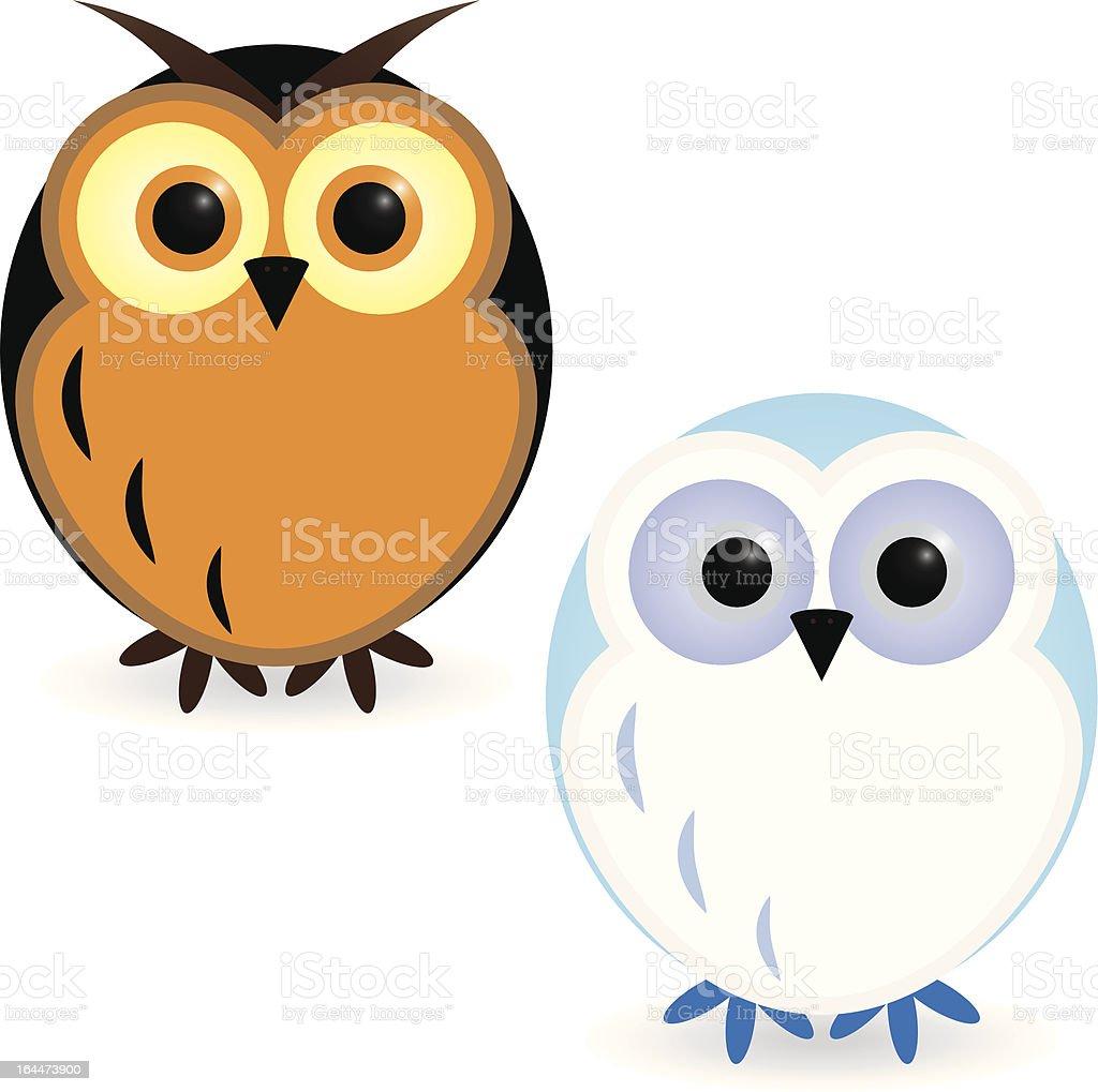 Two owls vector art illustration