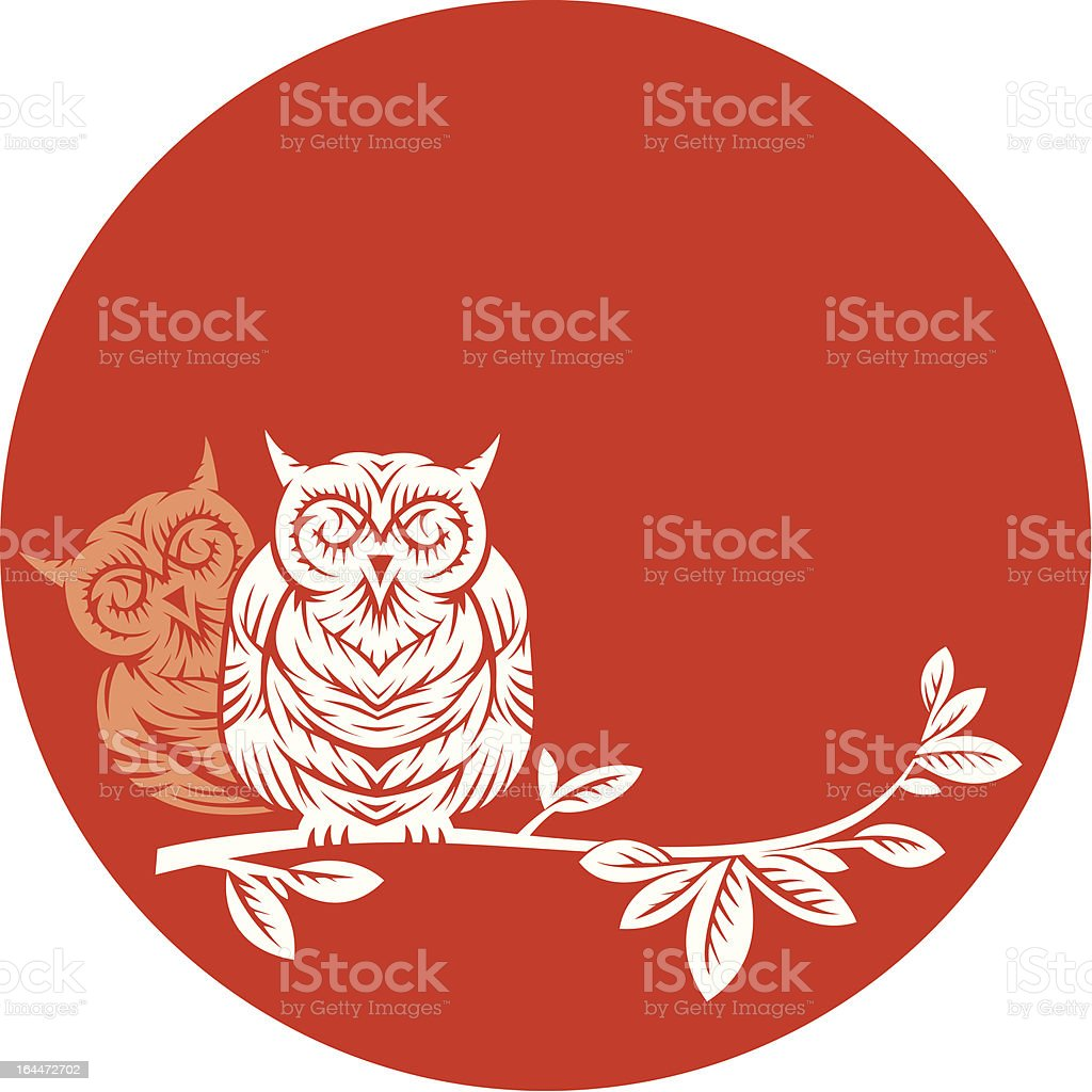 two owls on a branch royalty-free stock vector art