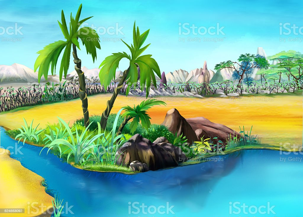 Two Palm Trees in the Desert Oasis. Day. vector art illustration