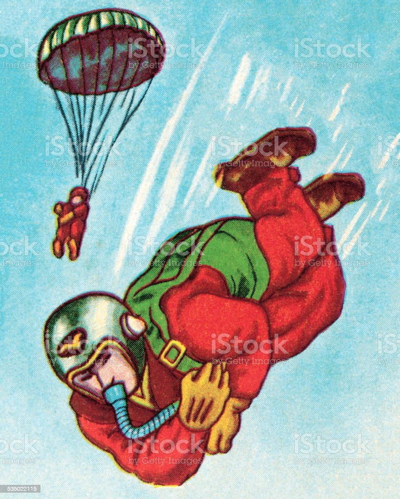 Two Paratroopers vector art illustration