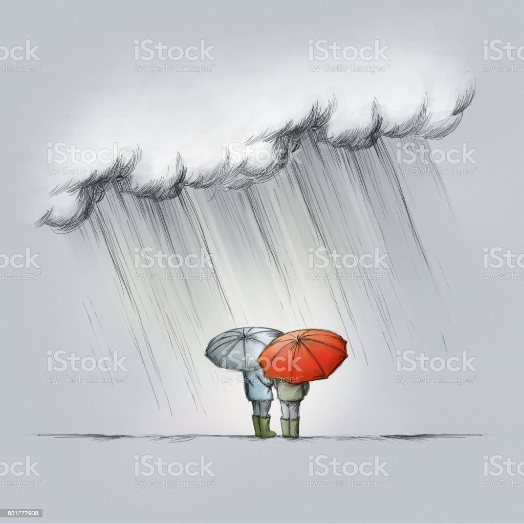 two people in the rain with umbrellas vector art illustration