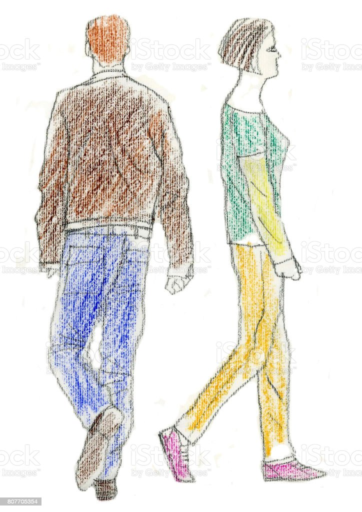 Two people walked vector art illustration