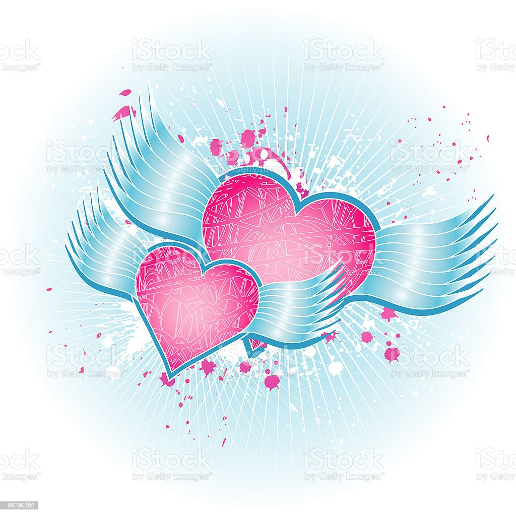 Two pink heart royalty-free stock vector art