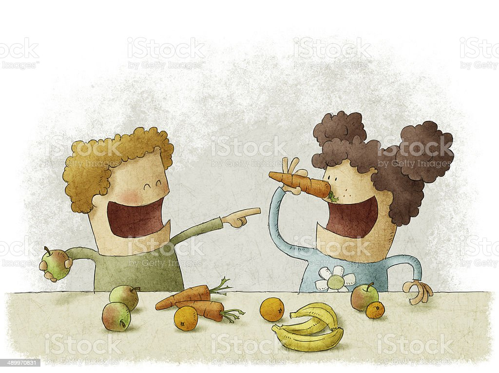 two preschoolers having break for fruits vector art illustration