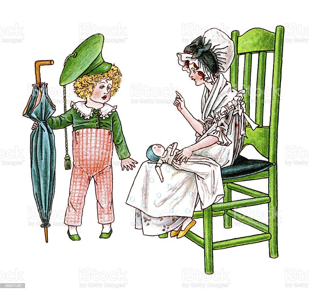 Two Regency era children with umbrella and doll vector art illustration