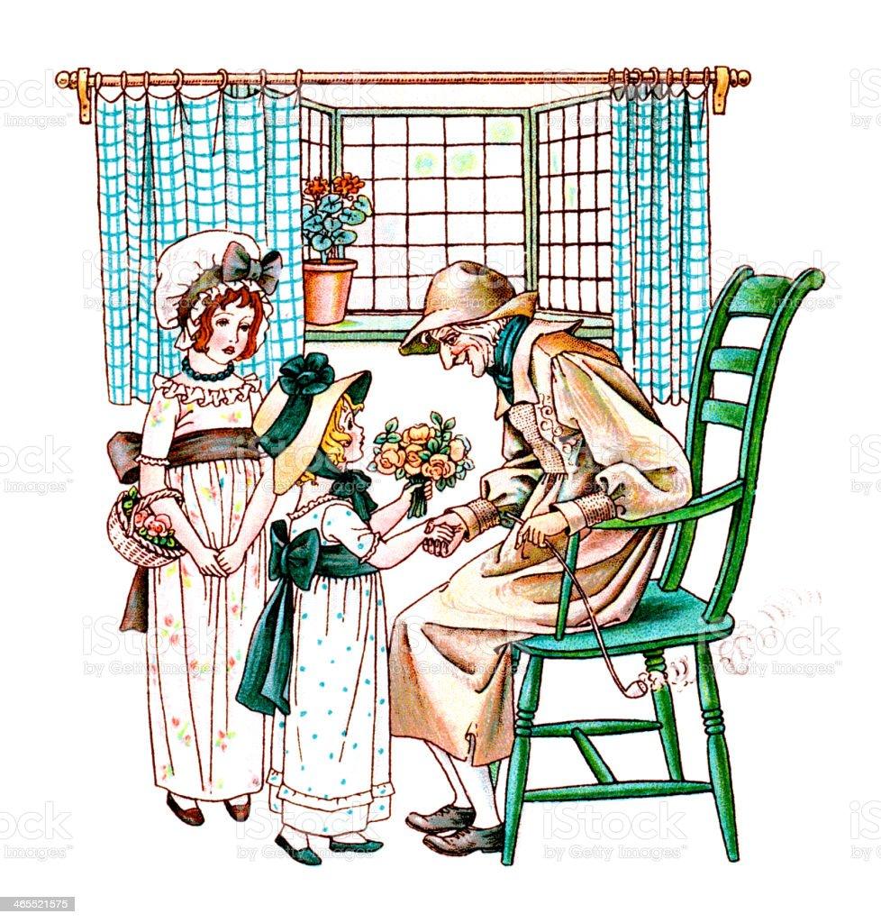 Two Regency era girls giving flowers to an old man vector art illustration