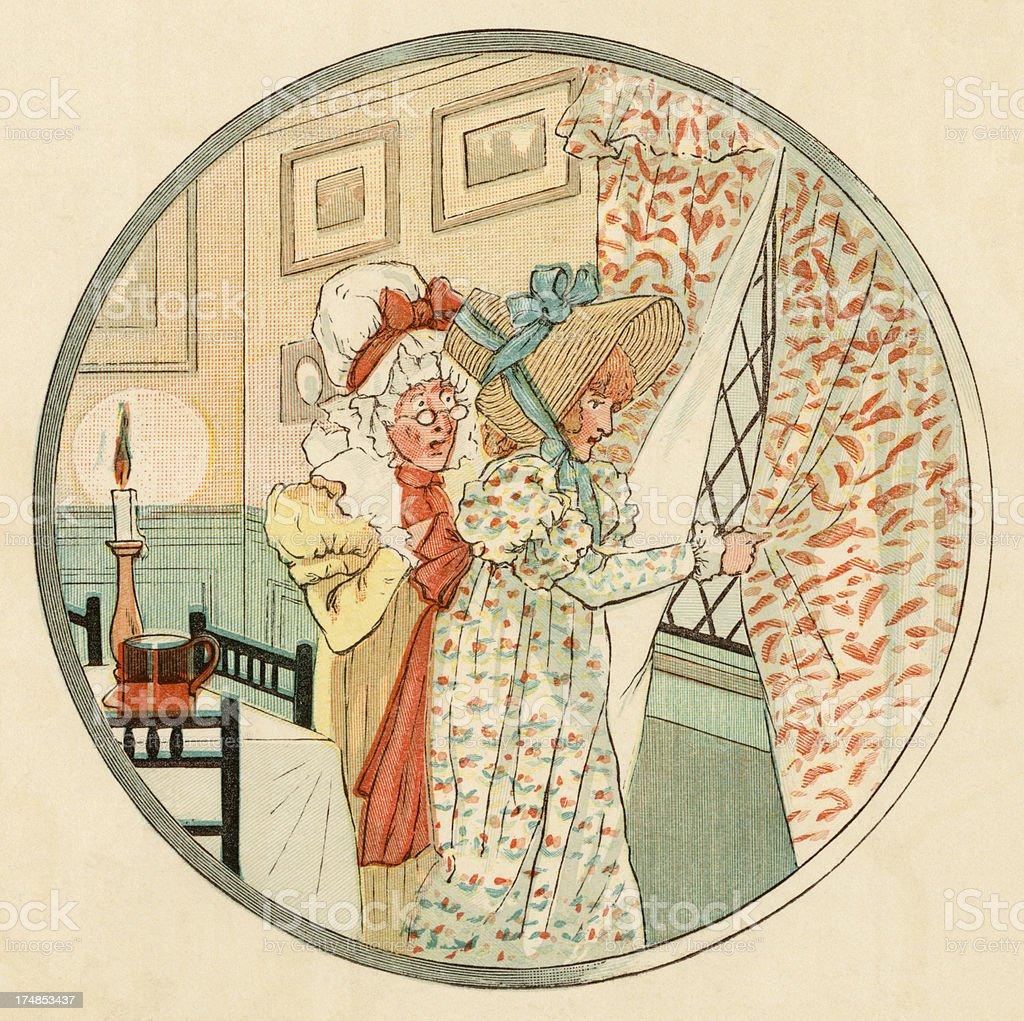 Two Regency period women peeping out of a window vector art illustration