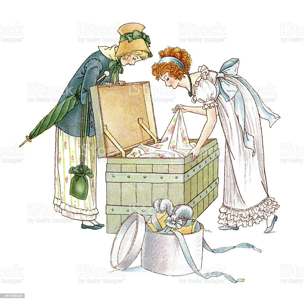 Two Regency style women looking at clothes in a trunk vector art illustration