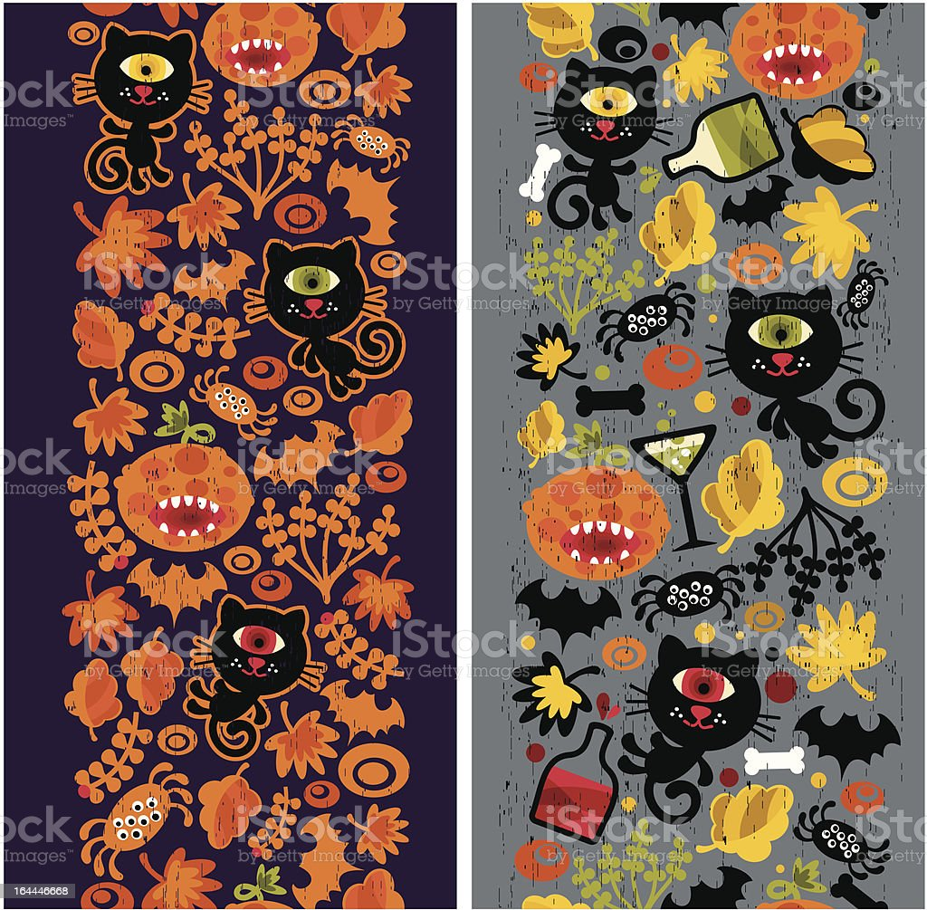 Two seamless vertical patterns with black cat, leaves and pumpkins. royalty-free stock vector art